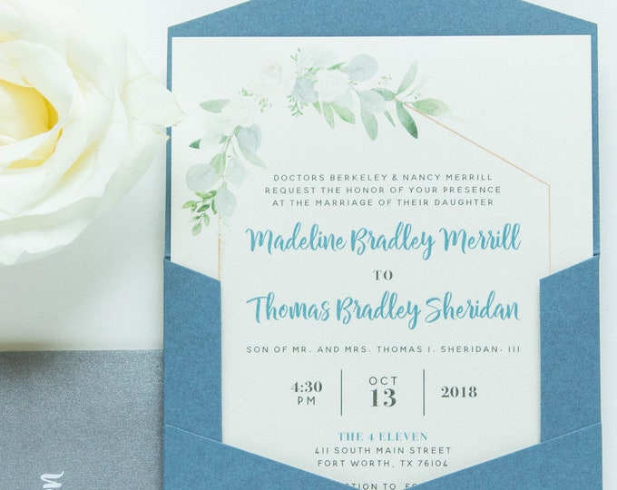 Geometric Modern Ivory Florals Greenery Leaves with Blush Pink & Gray Accents and Slate Blue Pocket Wedding Invitation — Other Colors