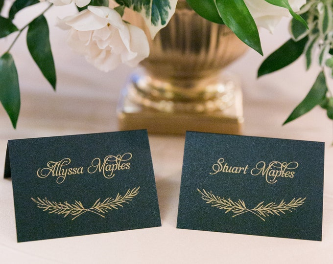 Formal Elegant Hand Drawn Greenery Leaves Black & Gold Wedding Place Cards Escort Cards with Printed Guest Names