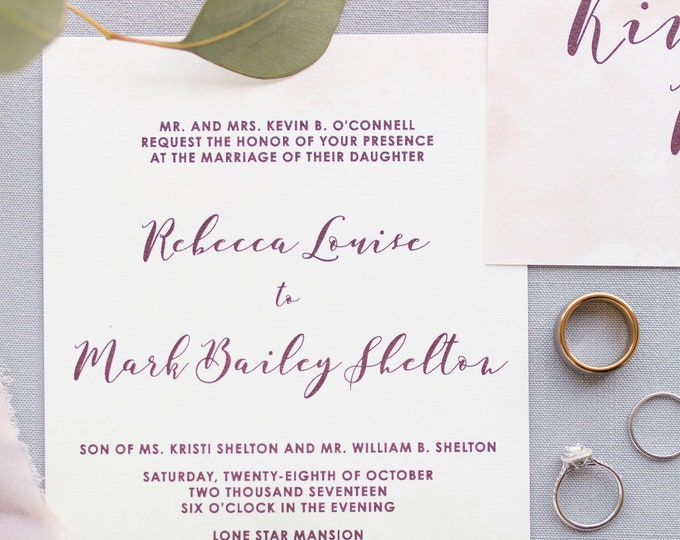 Soft Mint Green, Light Pink Blush & Marsala Burgundy Water Color Wedding Invitation with Details and RSVP - Other Colors Available