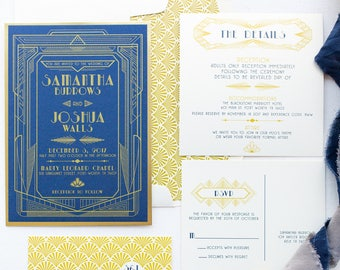 Navy Blue and Gold Art Deco Wedding Invitation in Great Gatsby Theme and Roaring Twenties Style with Details Insert & RSVP. Different Colors