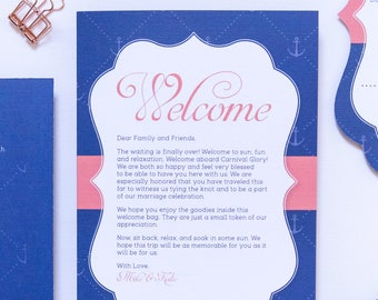 Folding Wedding Welcome Card for Cruise or Destination Wedding with Itinerary, Program, Schedule, Cabin Directory and Route Map