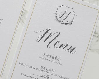 Simple Wedding Monogram, Hand Drawn Crest Wreath in Blush Pink, Grey & Gold, Printed Wedding Menu - Other Colors Available!