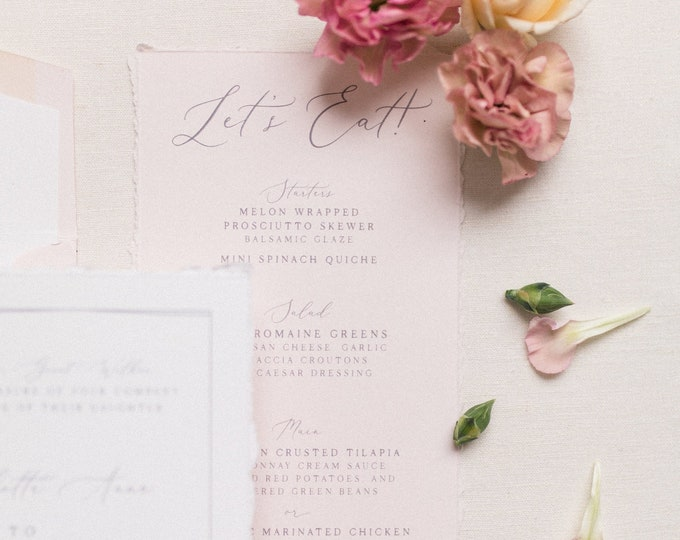 Deckled Edges, Torn Edges, Grey and Pink Delicate Hand Drawn Floral, Greenery Leaves with Calligraphy Script Modern Printed Wedding Menu