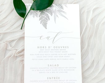 Simple Neutral Greenery Leaves Green, Ivory Beige and Gold Printed Wedding Menu - Other Color Options!