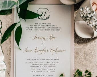 Pink Blush, Grey and Gold Modern Calligraphy Monogram Logo Branded Wedding Invitation, Details & RSVP - Other Colors Available