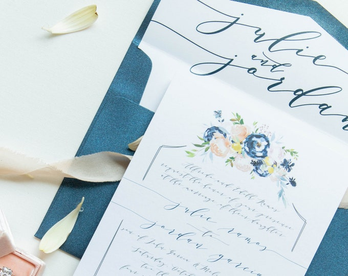 Boho Floral Calligraphy Hand Drawn Wedding Invitation in Navy Blue, Blush Pink, Coral Taupe with RSVP, Envelope Liner - Other Color Options