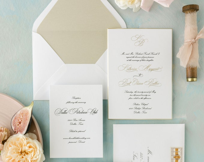 Formal Engraved and Gold Foil Stamped Wedding Invitation, Beveled, Gold Painted Edge, Wax Seal and Envelope Liner + Addressing —More Colors