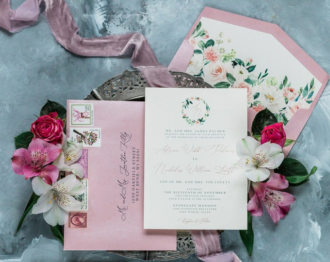 Floral Monogram Wreath Wedding Invitation with Blush Pink and Coral Flowers includes RSVP, Envelope Liner, and Guest Address - Other Colors