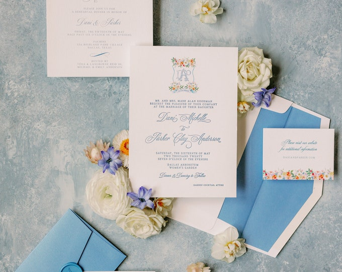 Custom Water Color Monogram Crest in Blue with Colorful Floral, Envelope Liner and Guest Addressing —Other Colors Available!