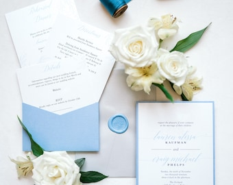 Pale Blue and Silver Back Pocket Wedding Invitation with Greenery Leaves and Branches, Address Envelope Printing — Other Colors Available