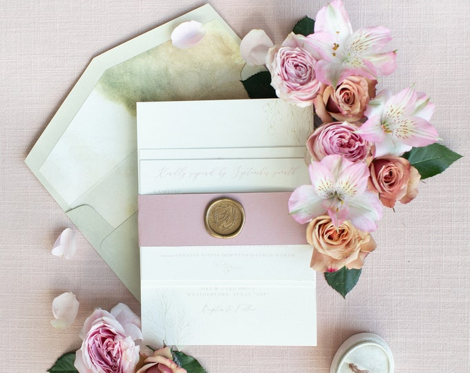 Soft, Subtle Greenery Leaves Wedding Invitation in Gold & Blush Pink, Belly Band, Watercolor Envelope Liner and Guest Address - Other Colors