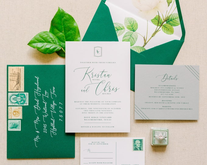 Modern Geometric Monogram Wedding Invitation in Emerald Green with Modern Calligraphy, Details, RSVP, Envelopes & Address Printing