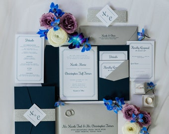 Modern + Formal Navy Blue & Silver Glitter Pocket Folder Wedding Invitation with Belly Band and Inserts — Different Colors Options