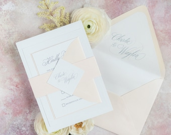 Soft Coral, Grey and White Wedding Invitation with Monogram, Envelope Liner and Formal Script with Guest Addressing — Other Colors!