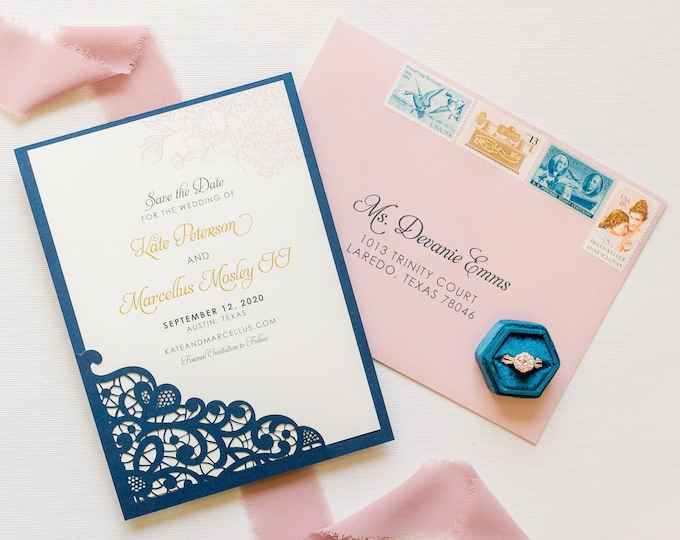 Elegant Lace Laser Cut Wedding Save the Date in Navy Blue, Blush Pink and Gold with Envelopes — Different Colors Available
