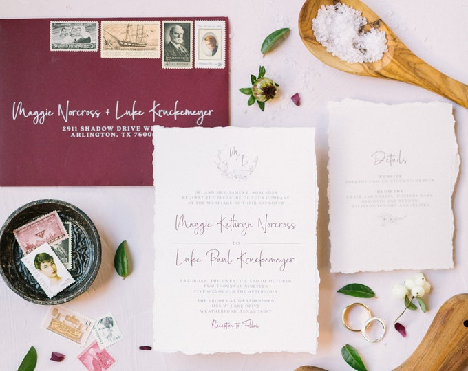 Burgundy, Grey & Taupe Wedding Invitation with Delicate Line Floral Monogram Wreath, Torn Edges and Guest Address — Other Colors Available