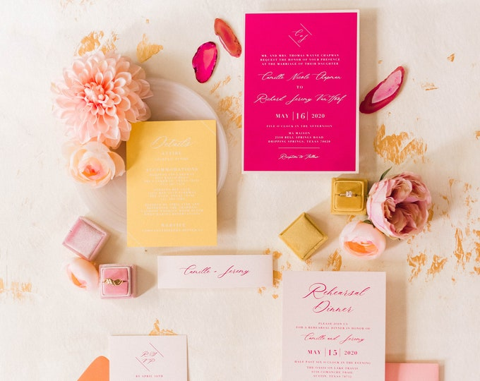 Modern + Bright Wedding Invitation in Hot Pink with White Ink, Yellow, Orange and Pale Pink with Belly Band —Other Colors Available!