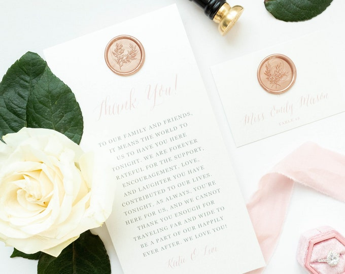 Modern Wedding Thank You for Place Setting in Blush Pink and Grey with Elegant Wax Seal — Different Colors Available!
