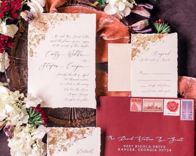Gilded Gold Foiled Wedding Invitation with Torn Edges, Vellum Belly Band and Stylish Calligraphy in Blush Pink - Other Color Options