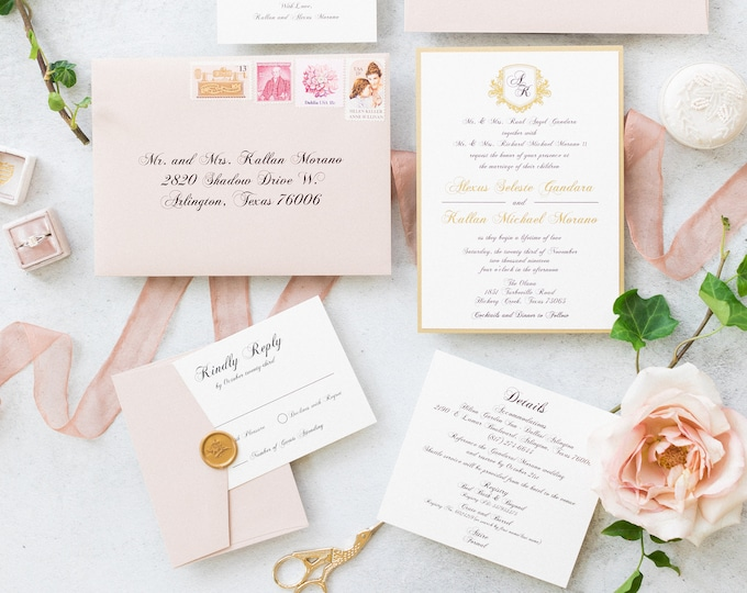 Elegant, Formal Monogram Crest Wedding Invitation in Blush, Gold and White with Envelope Liner, Inserts and Guest Addressing — Other Colors