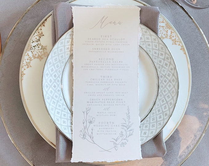 Deckled Edges, Torn Edges, Metallic Silver Delicate Hand Drawn Floral, Greenery Leaves with Calligraphy Script Modern Printed Wedding Menu