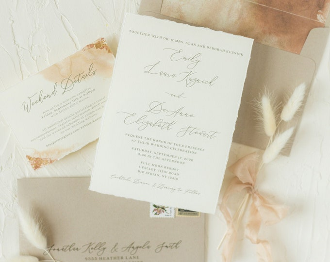 Copper and Gold Foil Flakes Wedding Invitation with Rust, Taupe and Sepia Water Color Envelope Liner & Guest Printing - Other Colors!