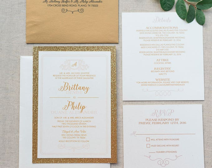 Layered Gold Glitter Wedding Invitation in Blush, Rose Pink, Formal and Elegant, RSVP & Directions with Map - Multiple Color Options!
