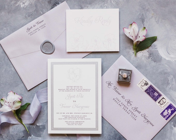 Lavender & Silver Wedding Invitation Featuring Monogram Crest with Grey Wax Seal, Details and Guest Address Printing — Different Colors!
