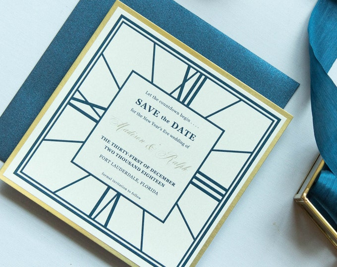 Square New Year's Eve Clock Wedding Save the Date in Navy and Gold with Envelopes —Different Colors Available