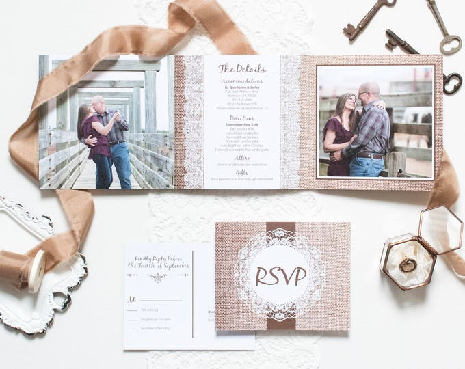 Rustic Country Barn Burlap and Lace Rustic Tri-Fold Wedding Invitation and Postcard RSVPs & Envelopes