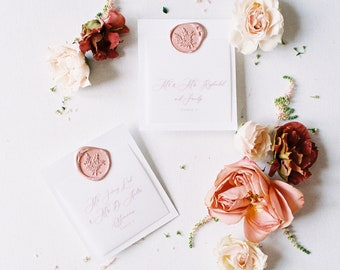 Vellum Overlay Wedding Escort Cards Cards with in Blush Pink Delicate Calligraphy Script and Wax Seal with Guest Name