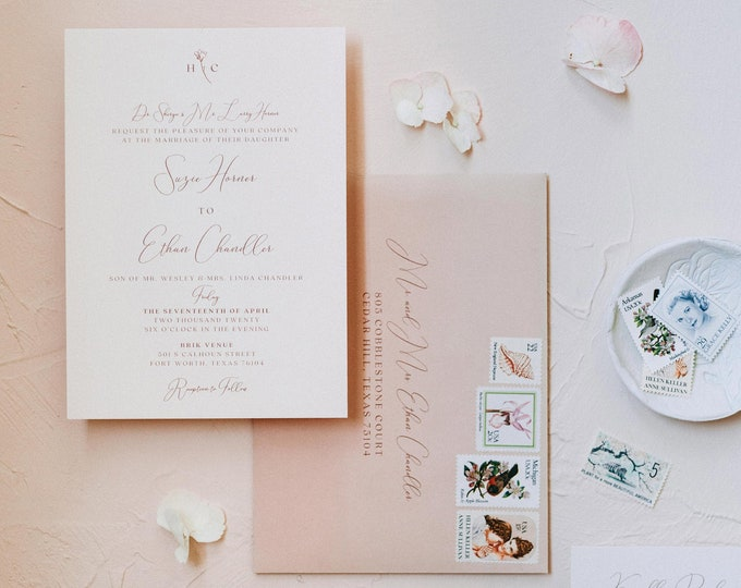 Peachy Pink, Dusty Blue and Navy Wedding Invitation, Delicate Floral, Monogram, Details Insert, and Address Printing - Other Colors