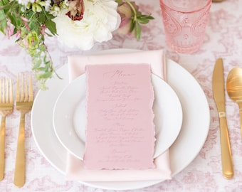 Vintage Blush Pink Wedding Menu with Ripped Edges, Delicate Calligraphy Script, Printed Menu — Other Colors Available