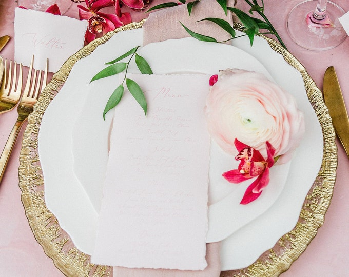 Soft Pink Blush Wedding Menu with Torn Edges, Calligraphy Script, Printed Menu — Other Colors Available