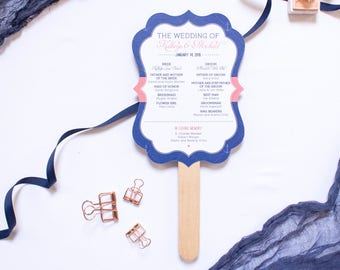 Nautical Navy and Coral 5x7 Die Cut Wedding Ceremony Program Fans with Monogram