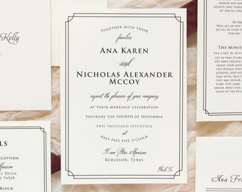 SimpleBlack Tie Formal Classic Elegant Invitation in Ivory & Black, Details Insert and RSVP (Other Colors Available)