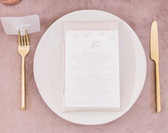 Blush Pink & White Floral Wedding Menu with Simple Modern Calligraphy Script —Available in Other Colors!
