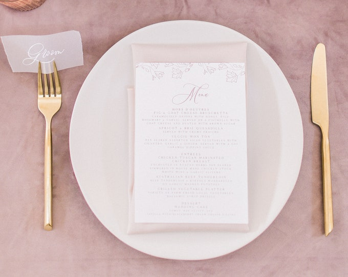 Blush Pink & White Floral Wedding Menu with Simple Modern Calligraphy Script — Available in Other Colors!