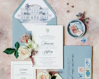 Navy Blue Thermography Wedding Invitation with Custom Wedding Venue Sketch Illustration in Dusty Blue and Blush —Other Colors Available!