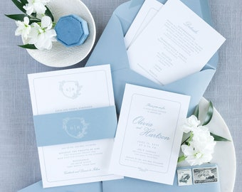 Letterpress Wedding Invitation in Pale Blue with Delicate Greenery Monogram Crest on Double Thick Card Stock with Belly Band— Other Colors!