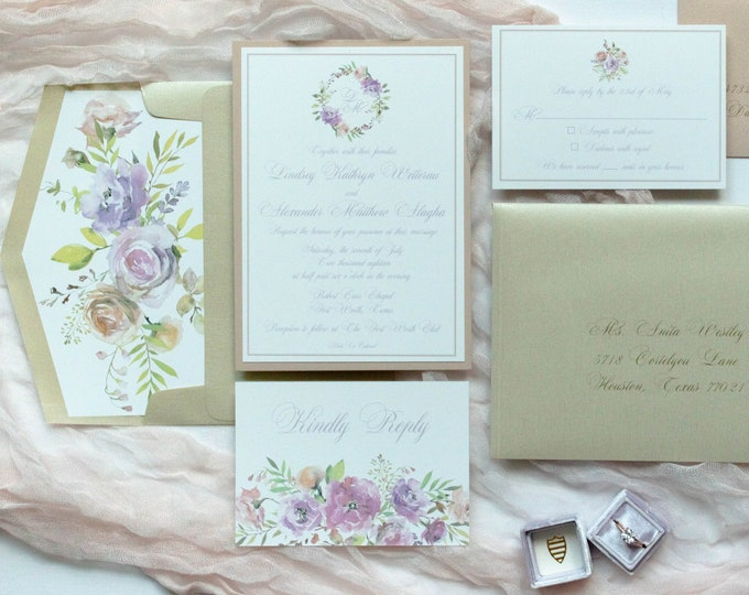 Pastel Layered Blush Pink and Pale purple Lavender Floral Wedding Invitation with Envelope, Envelope Liner and RSVP - Other Colors Available