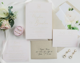 Simple Minimal Modern Geometric Monogram Blush Pink & Gold Wedding Invitation with Calligraphy and Floral - Different Colors!