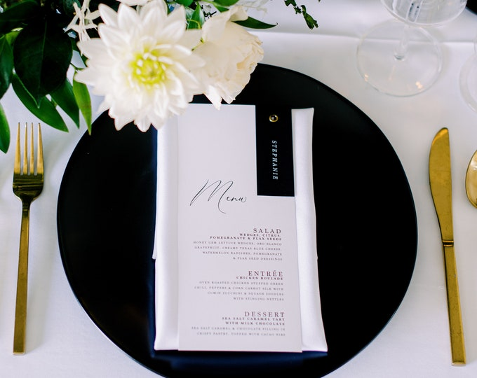 Modern Minimal Place Card + Simple Wedding Menu Combination Bound with Grommet in Black &  White with  Printed Menu —Other Colors!
