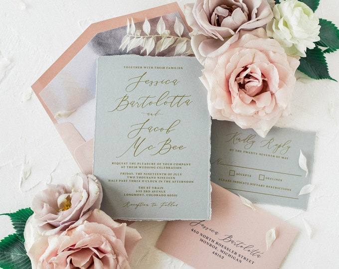 Grey, Blush & Metallic Gold Wedding Invitation with Torn Edges, Water Color Envelope Liner, RSVP and Addressing — Other Colors Available