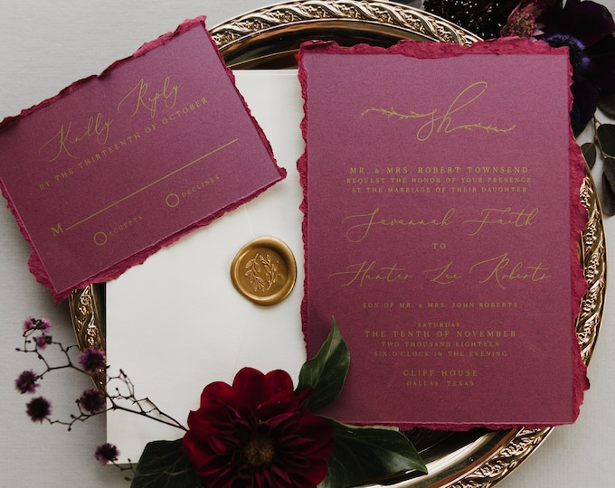 Ripped Edges Burgundy & Gold Modern Wedding Invitation in Purple with  Greenery Leaves Monogram  — Envelope Liner, RSVP and Guest Address
