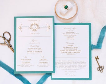 ORDER ADD ON Jade, Teal & Gold Formal Monogram Printed Wedding Program