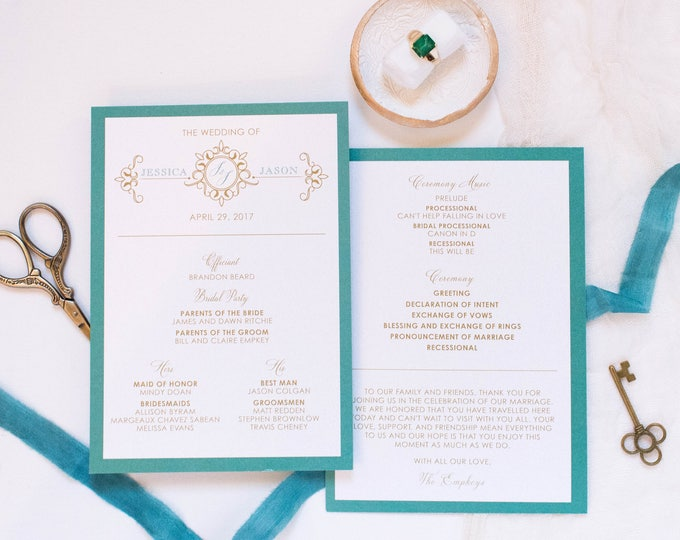 5x7 Jade, Teal & Gold Formal Monogram Printed Wedding Program