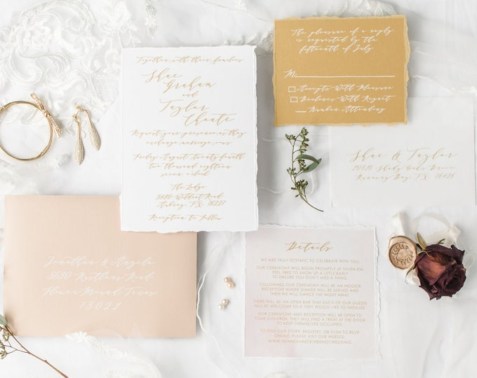Yellow Gold and Blush Wedding Invitation with Modern Calligraphy and Watercolor, Envelope Liner & White Guest Address - Different Colors!