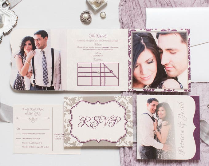 Multiple Photos Damask Die Cut Tri-Fold Wedding Invitation in Purple and Silver and Postcard RSVPs & Envelopes - Other Colors Available