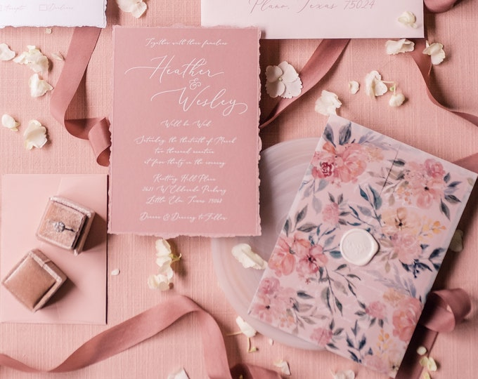 Floral Vellum Wrap Wedding Invitation on Dusty Rose White Ink Calligraphy with Torn Edges and Wax Seal - Other Colors